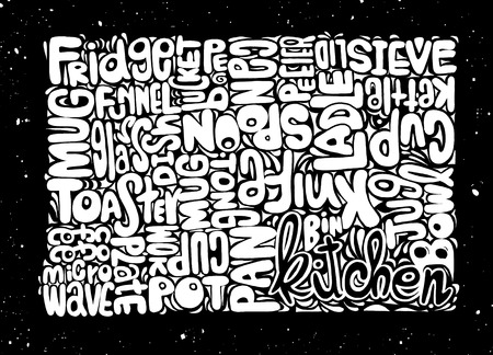 typo: Hand Drawn of Food and Drink word cloud concept made with words kitchen object,Vector illustration