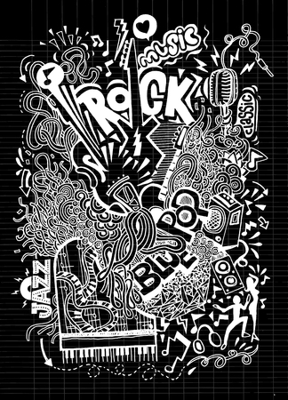 hand beats: Abstract Music Background ,Collage with musical instruments.Hand drawing Doodle,vector illustration. Illustration
