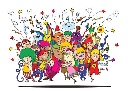 Dibujo a mano Ilustración del vector del Doodle de la gente divertida del partido, diseño plano