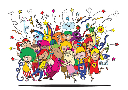 Hand drawing Doodle Vector Illustration of Funny party people ,Flat Design Reklamní fotografie - 55385723