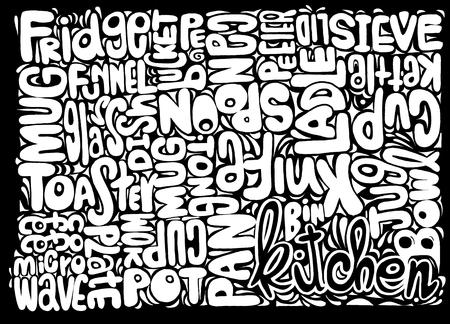 Dibujado mano de Alimentación y Bebida concepto palabra nube hecha con objeto palabras cocina, ilustración vectorial