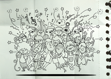 crowd happy people: Hand drawing Doodle Vector Illustration of Funny party people ,Flat Design