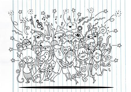 Dibujo a mano Ilustración del vector del Doodle de la gente divertida del partido, diseño plano Ilustración de vector