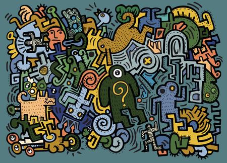 Hipster dibujado mano del doodle Loco Monster City, ejemplo del dibujo de style.Vector.