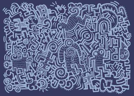 sociedade: Hipster Hand drawn Crazy doodle Monster City,drawing style.Vector illustration. Ilustração