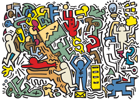 indie: Hipster Hand drawn Crazy doodle business,drawing style.Vector illustration.
