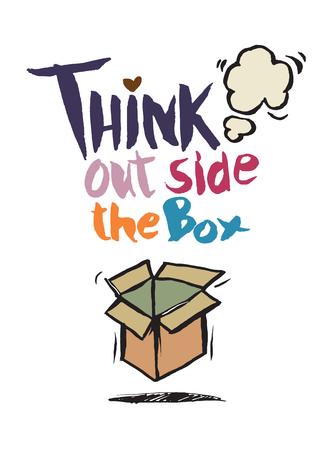 griffonnages dessinés à la main, pensez à côté du concept de boîte, vecteur Illustration