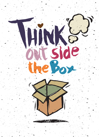 think out of the box: hand drawn doodles,think out side the box concept,Vector Illustration Illustration