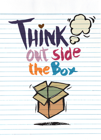 think out of box: hand drawn doodles,think out side the box concept,Vector Illustration Illustration