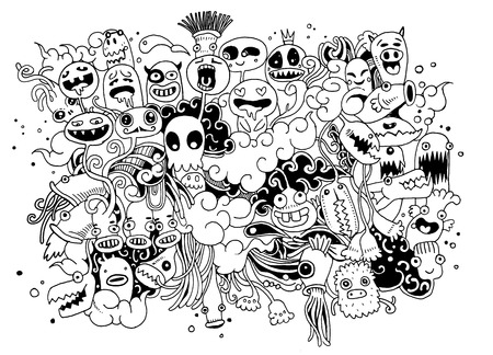 Hipster Hand drawn Crazy doodle Monster City,drawing style.Vector illustration. Ilustracja