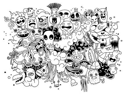 Hipster Hand getrokken Crazy doodle Monster City, tekening style.Vector illustratie.