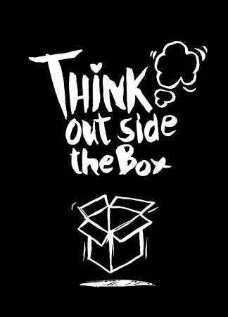 think out: hand drawn doodles,think out side the box concept,Vector Illustration Illustration