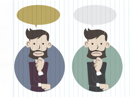 worried executive: Businessman standing and thinking.get idea in think bubble Illustration