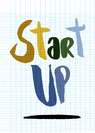 geeky: Start up concept. Hand painted brush lettering,Typographic poster.vector illustration Illustration