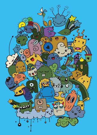 Hipster Hand getrokken Crazy doodle Monster City, tekening style.Vector illustratie Vector Illustratie