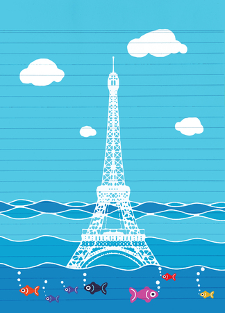 deluge: Eiffel tower flood. France attraction underwater. France symbol filled with water. Fish swim in water. Disaster in Paris France Illustration