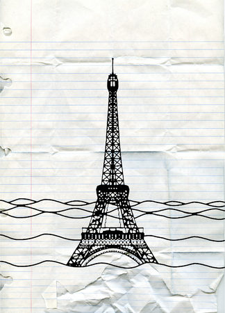 sea disaster: Eiffel tower flood. France attraction underwater. France symbol filled with water. Fish swim in water. Disaster in Paris France Illustration