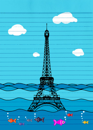 surrealistic: Eiffel tower flood. France attraction underwater. France symbol filled with water. Fish swim in water. Disaster in Paris France Illustration