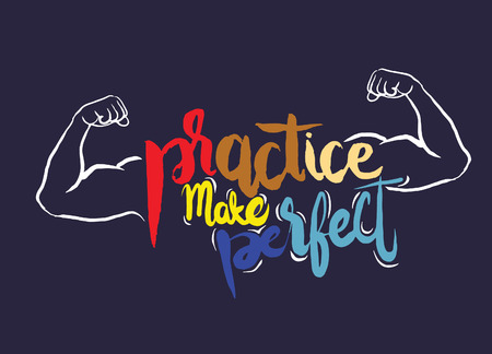 strong arm: Practice makes perfect print,strong arm. Modern brush lettering style,Typographic poster.vector illustration