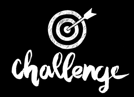 geeky: Handwritten word challenge , painted brush lettering,Typographic poster.vector illustration