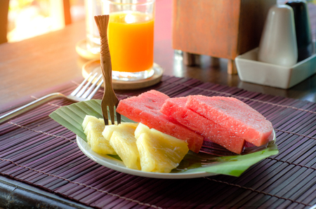 pine  fruit: Small  fruit plate with Watermelon and Pine Appale