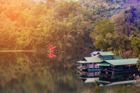 maisonette: Houseboats in the dam of thailand. Stock Photo