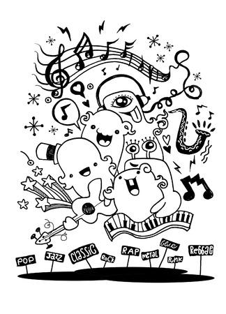 モンスター音楽バンドが音楽を演奏します。描画スタイル、ベクトル図を手します。