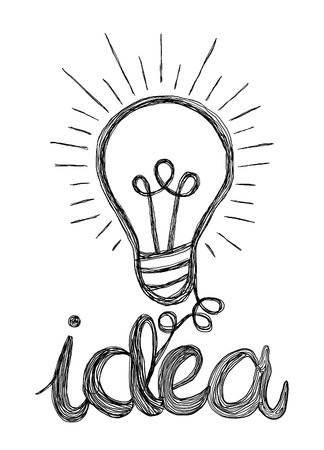 Vector light bulb icon with concept of idea. Doodle hand drawn sign. vector illustration Ilustração