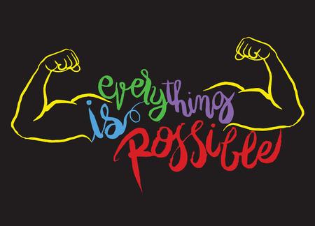 모든 것이 가능한 카드입니다. 손 문자 포스터를 그려. 긍정적이고 동기 부여 따옴표. 잉크입니다. 현대 브러시 서예.