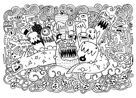alien clipart: Vector illustration of Monsters and cute alien,cute monster.