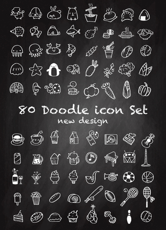 Set of 80 Cute Doodle icons Universal Set sketch sign illustration on chalk board.,Animal icons , Sport icons , Drink icons , Food icons ,Music icons ,Hand drawing line icons. Ilustracja