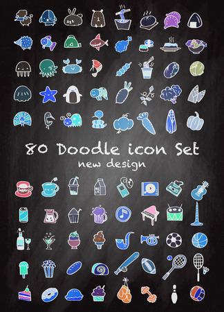 cons: Set of 80 Cute Doodle icons Universal Set sketch sign illustration on chalk board.,Animal icons , Sport icons , Drink icons , Food icons ,Music icons ,Hand drawing line icons. Illustration