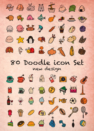 cons: Set of 80 Cute Doodle icons Universal Set sketch sign illustration on paper.,Animal icons , Sport icons , Drink icons , Food icons ,Music icons ,Hand drawing line icons. Illustration