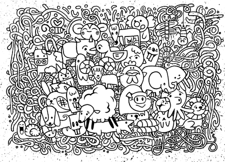 family gardening: Farm Day Animals Doodle background Hand drawn.Doodles vector illustration.