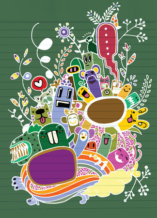 Hand drawn Crazy doodle Monster and flower,drawing style.Vector illustration. Illustration