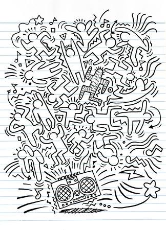 手描き落書きベクトル図のおかしい連中、フラットなデザイン