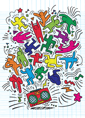 Hand drawing, Doodle, Vector, Illustration, of Funny party people, Flat Design Vectores