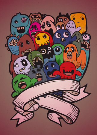 mutant: Vector illustration of Ghost and cute alien friendly, cool, cute hand drawn monsters