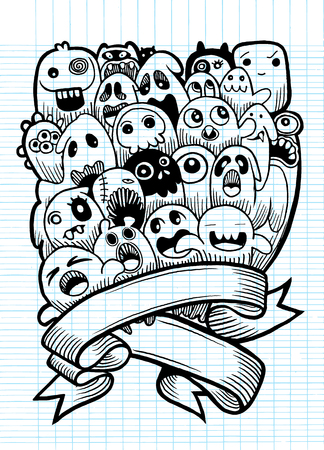 alien face: Vector illustration of Ghost and cute alien friendly, cool, cute hand drawn monsters