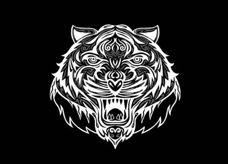 tiger isolated: Hand drawn Tiger head Tattoo.psychedelic tiger isolated, Vector illustration. Illustration