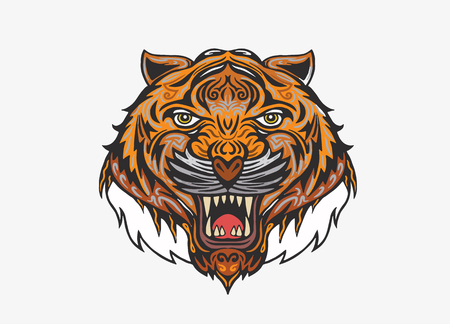 Hand drawn Tiger head Tattoo.psychedelic tiger isolated, Vector illustration. Illustration