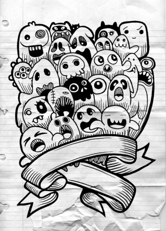 Vector illustration of Ghost and cute alien friendly, cool, cute hand drawn monsters