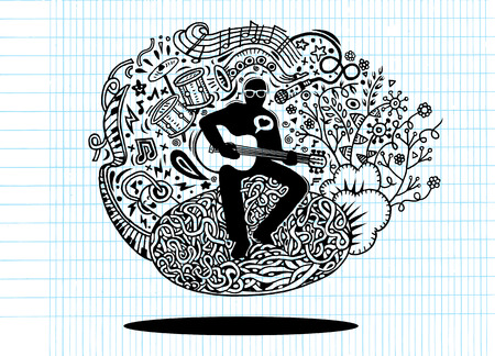 heart tone: Doodles musician playing guitar and sings a song.Doodle pen drawn background. musician icon. musician cartoon. musician character. musician design template vector illustration.