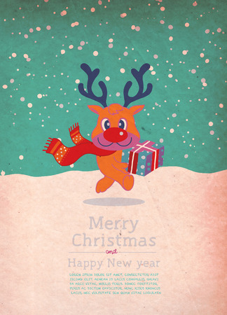 Vector illustration of reindeer christmas gift box