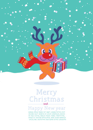 red nosed: Vector illustration of reindeer christmas gift box ,cute hand-drawn Illustration