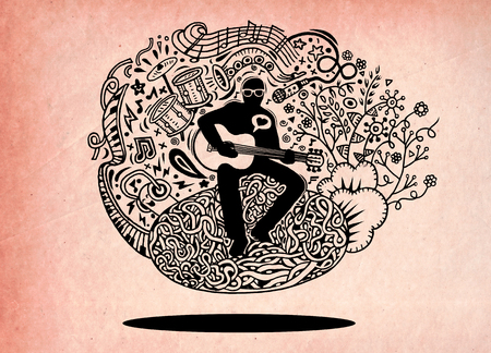 tenor: Doodles musician playing guitar and sings a song.Doodle pen drawn background. musician icon. musician cartoon. musician character. musician design template vector illustration.