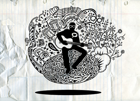 tenor: Hand drawing Doodles musician playing guitar and sings a song.Doodle pen drawn background. musician icon. musician cartoon. musician character. musician design template vector illustration.