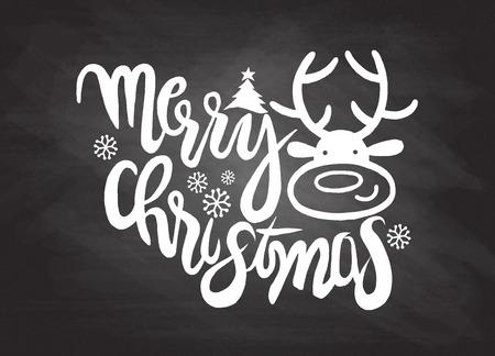 Hand tekenen cartoon character.Merry kerst .Vector kerstkaart met leuke reindeer.Doodles vector illustratie. Stockfoto - 60845834
