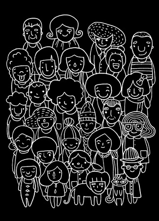 Hand drawings ,Group of people, sketch for your design. Vector illustration