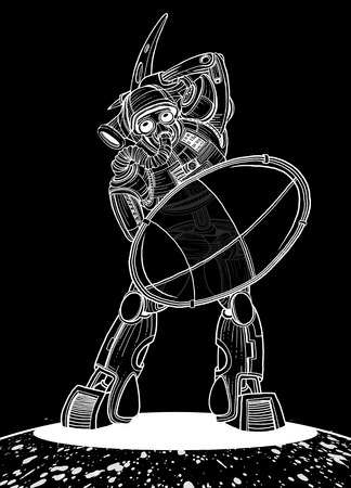 Illustration of a Gladiator Robot with a shield and Battle Axe ,Vector illustration